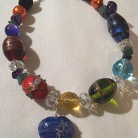 Handcrafted Patchwork Gemstone and Beads Chakra Inspirational Jewellry Bracelet