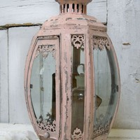 Shabby chic Victorian style distressed pink display case lantern