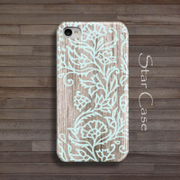 Wood Print iPhone 5 Case, iPhone 4 Case Floral iPhone 5s Case Wood iPhone 4s Flowers Wooden iPhone 5 Case Girly Cute Pretty Cell Phone Cover