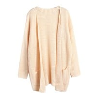 Hee Grand Women's No Buttons Slouchy Cardigan Apricot