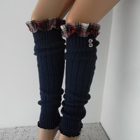 Dark blue Socks Boot socks Leg Warmer Christmas Gift