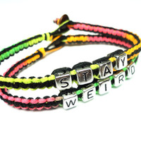Stay Weird Bracelet Set, Neon and Black Hemp Jewelry, Eco Friendly Gift