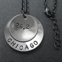 CELEBRATE YOUR RACE - Choose your Race Name and Race Distance Nickel Silver pendants on an 18 inch gunmetal chain