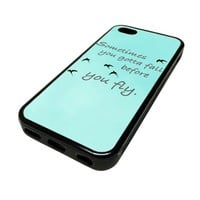 Apple iPhone 5C 5 C Case Cover Fall Before You Fly Teal DESIGN BLACK RUBBER SILICONE Teen Gift Vintage Hipster Fashion Design Art Print Cell Phone Accessories