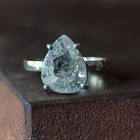 Natural Rose Cut Diamond Slice Ring in 14kt White Gold