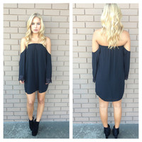 Black Off Shoulder Lace Sleeved Dress