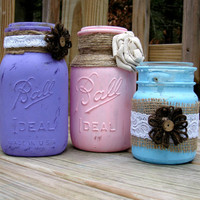 Rustic Mason Jars, Distressed Paint Mason Jars, Rustic Wedding Decor, Country Decor
