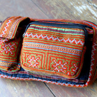 Large Belt Bag Hip Pouch In Vintage Hmong Embroidery and Indigo Batik Man Bag