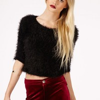 Missguided - Reika Fluffy Cropped Jumper In Black
