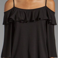 James & Joy Natalie Open Shoulder Top in Black