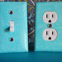 SET Of 2 Crystal Mint Glitter Switchplate / Outlet Covers ALL Styles