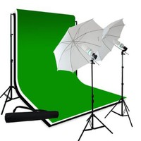 "LimoStudio Photography 10'x10' Double Muslin Black White Green Chromakey Backdrop Support Kit 700W 33"" White Photo Umbrella Light Kit, LMS709"