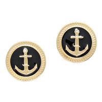 BLACK & GOLD ANCHOR STUDS