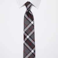NARROW SILK TIE - TARTAN PLAID
