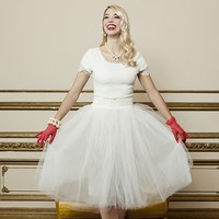 White Tulle Knee Length Skirt