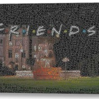 Friends TV Show Characters Word Mosaic Neat Framed 9x11 Inch Limited Edition with COA