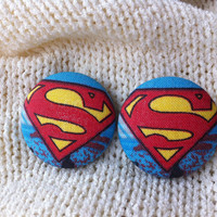 Superman Supergirl Fabric Button Earrings, Covered Button Earrings, Superhero Earrings, Cosplay, Comic Con Earrings