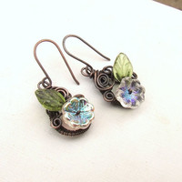 Spring fairy earrings botanical antiqued copper earrings handmade wire wrapped jewelry