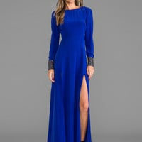 Line & Dot Deep Slit Maxi Dress in Cobalt Blue