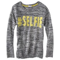 Xhilaration® Junior's #Selfie Intarsia Sweater - Charcoal