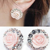 NT0045 Roses circle diamond earrings over drilling