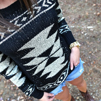 Sequin Aztec Sweater | The Rage