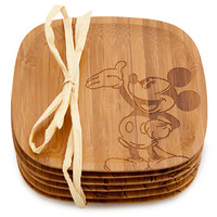 Bamboo Mickey Mouse Coaster Set