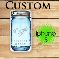 iPhone 5S Case iPhone 5 Personalized Blue Mason Jar / Case For iPhone 5 and iPhone 5S Plastic or Rubber Trim