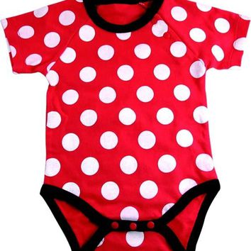 Okutani Red & White Polka Dot Onesuit Kids Clothing at Broken Cherry