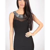 Jewel Trim Dress - Kely Clothing
