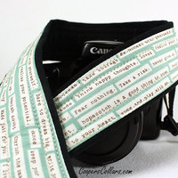 Aqua Happy Thoughts Camera Strap, dSLR, Inspirational, SLR, 1 c