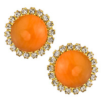 Liz Palacios Orange Caboche and Crystal Clip Earrings - Max & Chloe