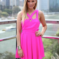 Hot Pink Double Strap Lattice Side Cutout Dress