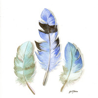 Original watercolor Painting - Three Blue Bird Feathers