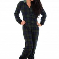 Green Onesuit Pajamas with Zip Up Front