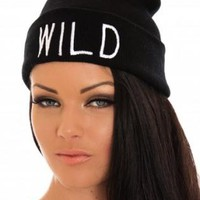 Black WILD Slogan Beanie Hat