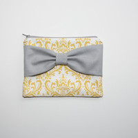 Zipper Pouch / Cosmetic Case - Yellow and White Damask with Gray Bow