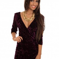 Burgundy Velvet Crush Dress with V-neck & 3/4 Sleeves