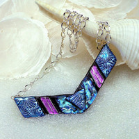 Chevron Statement Necklace in Dichroic Fused Glass in Sparkling Silver Blue and Purple Jewel Cha Cha Colors