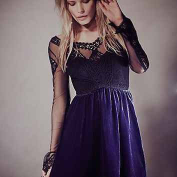 Free People Womens V For Victorian Velvet Mini Dress -