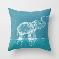 Elephant Throw Pillow by Paula Belle Flores