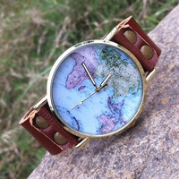 Retro style watch,world map wrist watch bracelet, Brown Leather Bracelet Watch, Handmade Women's Watch, Men's wristwatch PB085