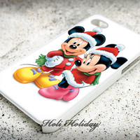 Christmas Mickey And Minnie - Print on hard plastic - iphone case - iphone 4 - iphone 4/s case - iphone 5 case - samsung case - iphone