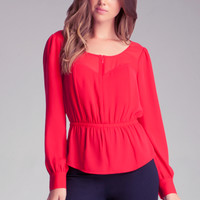 Zip-Up Chiffon Blouse