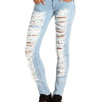 MACHINE JEANS SLASHED SKINNY JEAN