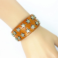 Antique silver Pentagram studs leather bracelet,pentagram bracelet,mens leather wrist band bracelet,womens leather bracelet M-318