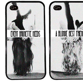 BFF Case / Blonde and Brunette iPhone 4 Case Best Friends iPhone 5 Case iPhone 4S Case iPhone 5S Case One For Your BFF Set Phone Case Gift