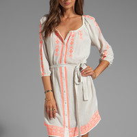 Velvet by Graham & Spencer Farley Embroidered Crinkle Gauze Dress in Milk/Coral