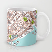 Fun New York City Manhattan street map illustration Mug by Little Smilemakers Studio