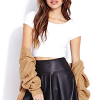 Cool Girl Faux Leather Skater Skirt